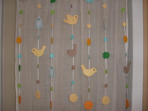 鳥モチーフの暖簾